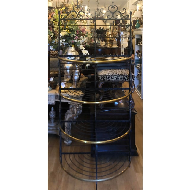 Vintage Petit French Iron and Bronze Demilune Baker's Rack For Sale In Los Angeles - Image 6 of 6