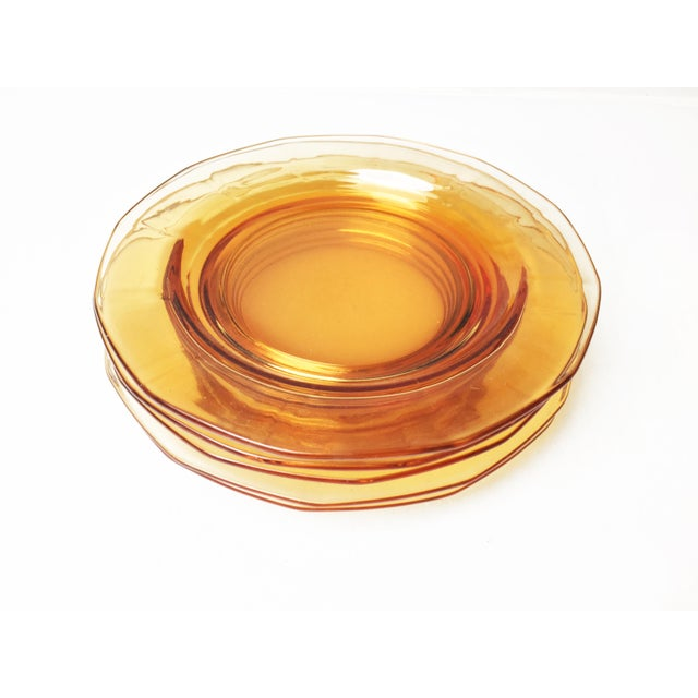 Boho Chic Vintage Mid-Century Amber / Orange Glassware Small Plates - Set of Five For Sale - Image 3 of 3