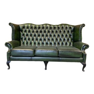 Vintage Mid-Century English Leather Chesterfield Wingback 3 Seat Sofa, Green For Sale