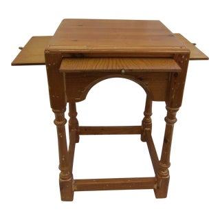 Hand Crafted Square Wood Table For Sale