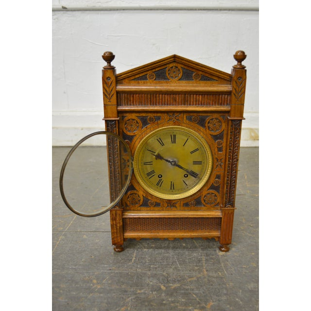 Antique Aesthetic Walnut Mantel Clock attributed to Daniel Pabst For Sale - Image 5 of 13