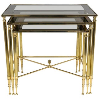 Polished Brass Nesting Tables by Maison Jansen 1970s - Set of 3 For Sale