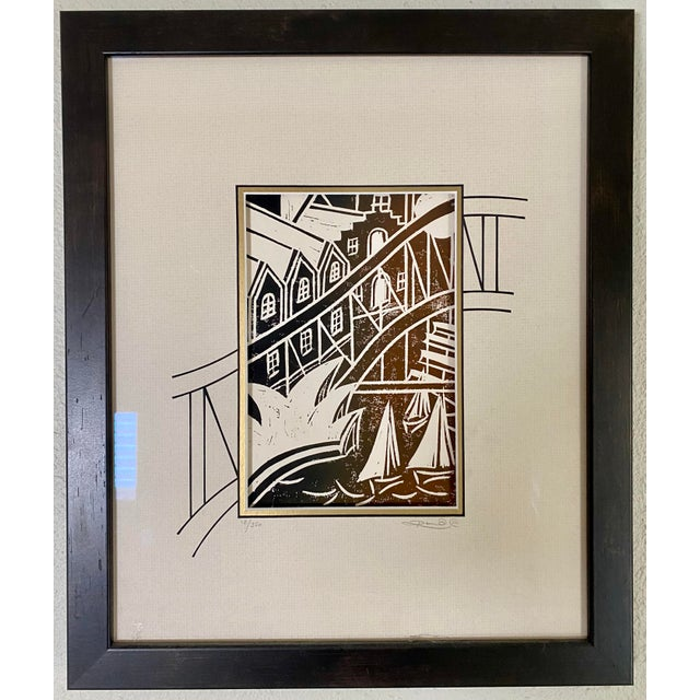 "Wood Australian Cityscape ""Harbour Bridge"" Print by Karyn 'Ronnie' Driscoll, Signed For Sale - Image 7 of 7"