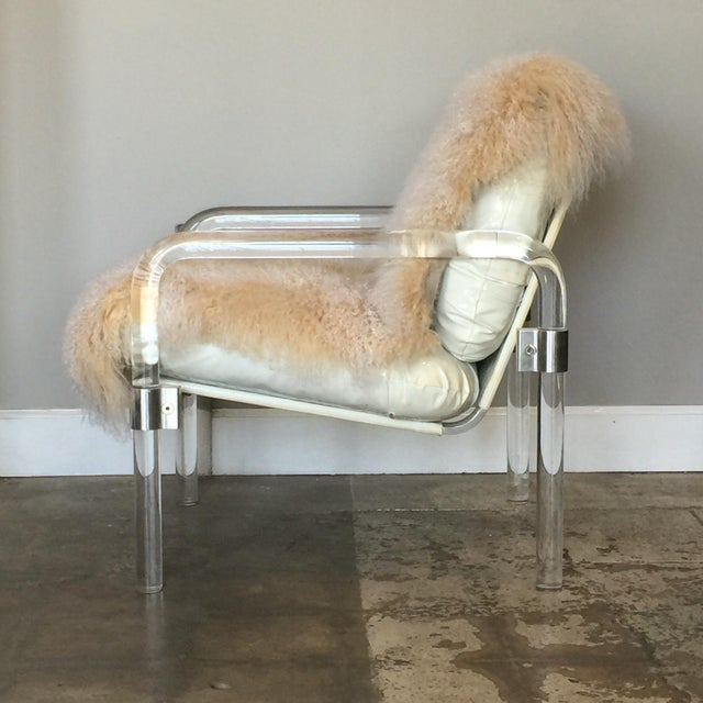 Aluminum Welcoming Mongolian Lamb Lucite Armchair For Sale - Image 7 of 10
