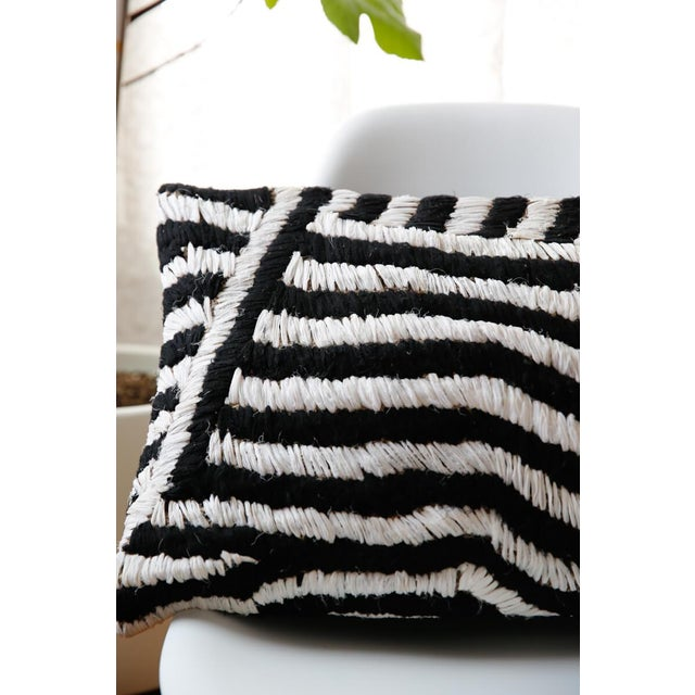 Contemporary Moroccan Flat-Weave Boucherouite Lumbar Pillow in Black and White - 18 For Sale - Image 3 of 4