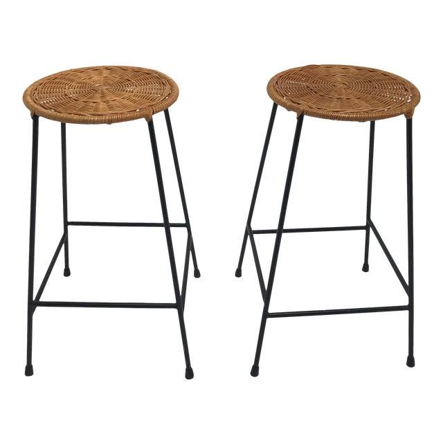 Vintage Arthur Umanoff metal frame counter stools - a Pair - Image 1 of 11