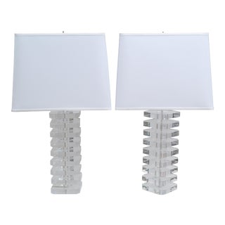 Pair of Stacked Lucite Table Lamps For Sale