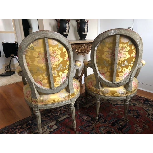 18th Century Vintage Louis XVI 1760s French Fauteuils- A Pair For Sale In Minneapolis - Image 6 of 12