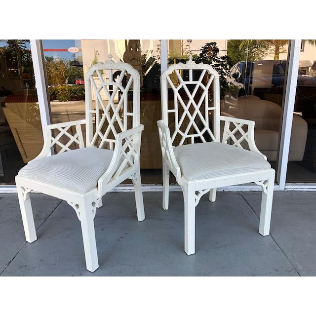 1970s 1970s Vintage Palm Beach Regency Chinoiserie Pagoda Arm Chairs- A Pair For Sale - Image 5 of 10