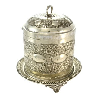 Antique Silver English Biscuit Barrel For Sale