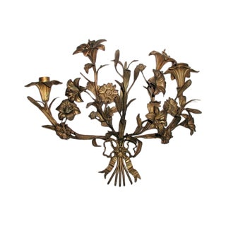 Early 1900s French Bronze Candle Wall Sconce