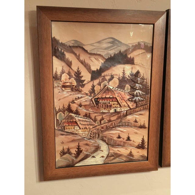 3-Piece Painted Wood Relief Mountain Diorama - Image 3 of 8