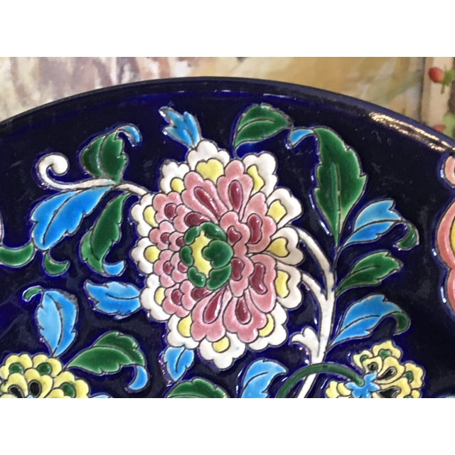 French Antique French Faience Colorful Longwy Plate For Sale - Image 3 of 13