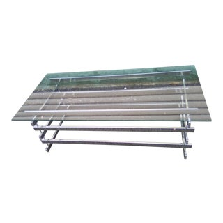 Chrome and Glass Stacked Rectangles Coffee Table For Sale