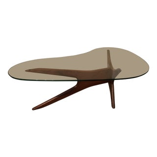 1960s Mid-Century Modern Adrian Pearsall Walnut Glass Top Kidney Shaped Coffee Table For Sale