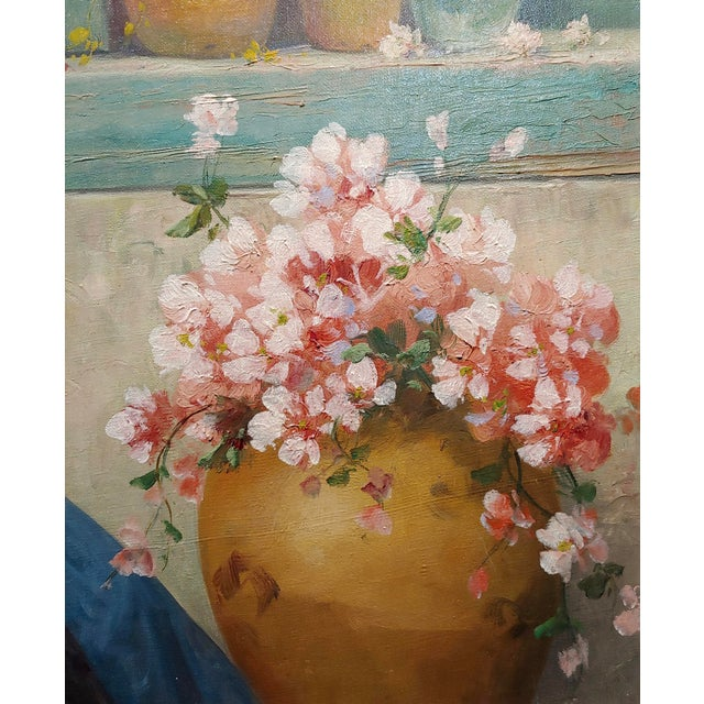 """Canvas Luis Doret """"The Beautiful Flower Girl"""" Oil Painting, 19th Century For Sale - Image 7 of 11"""
