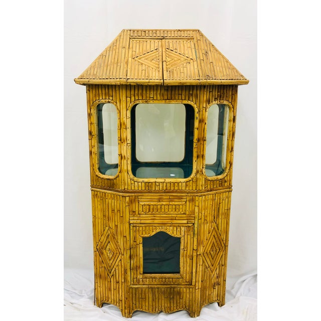 Stunning Antique Split Bamboo Curiosity Cabinet or Display Case. Originally used for a fish tank but the possibilities for...