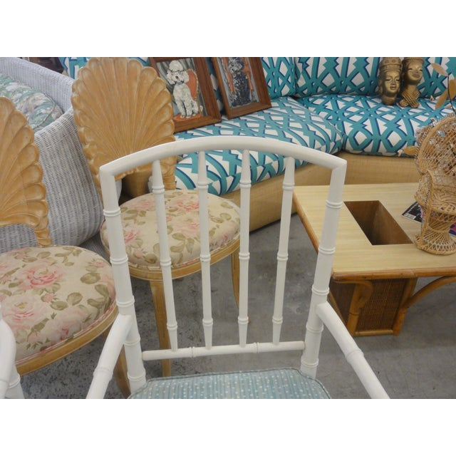 Palm Beach Faux Bamboo Arm Chairs - a Pair For Sale - Image 9 of 10