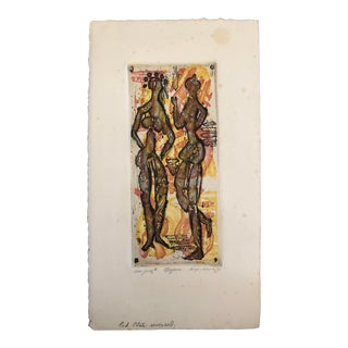 1976 Robert Lohman Indiana Artist Abstract Figures Etching For Sale
