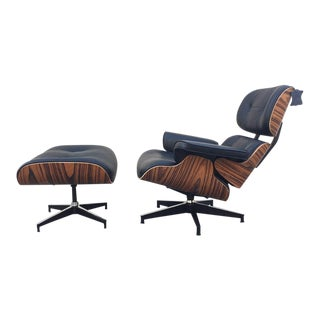 Lounge Chair and Ottoman in Black Leather For Sale