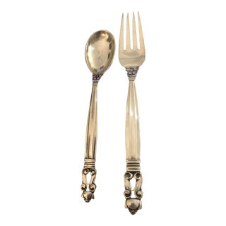 Georg Jensen Denmark Child Sterling Silver Acorn Spoon & Fork - 2 Pc. Set For Sale