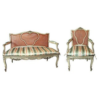 19th-Century French Settee & Fauteuil For Sale