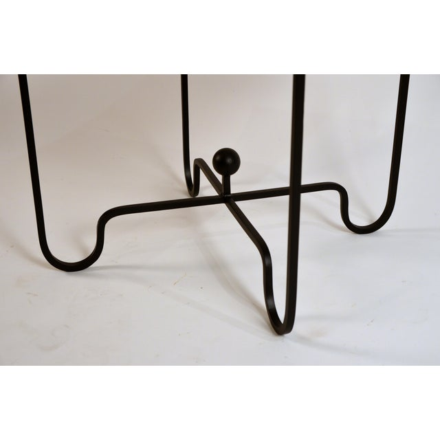 Metal 'Entretoise' Wrought Iron and Honed Marble Side Tables by Design Frères - a Pair For Sale - Image 7 of 8