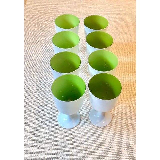 Carlo Moretti Inspired White and Green Murano Cased Glass Goblets - Set of 8 For Sale - Image 12 of 12