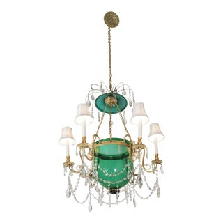 20th Century Hollywood Regency Green Glass Chandelier For Sale