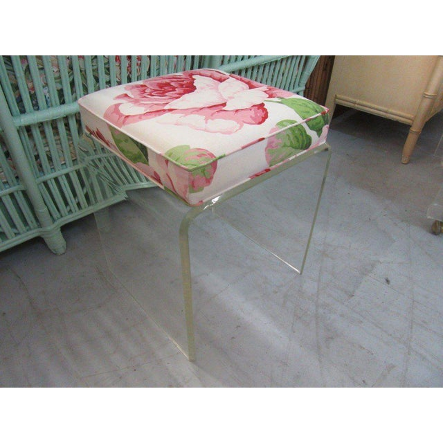 Upholstered Lucite Bench Stool - Image 3 of 5