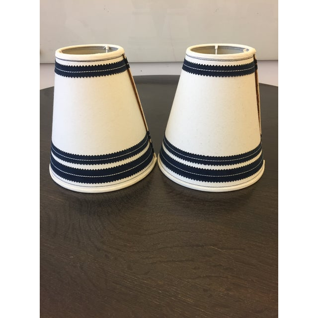 Late 20th Century Americana Wooden Table Lamps With Vintage Lamp Shades - a Pair For Sale - Image 5 of 6