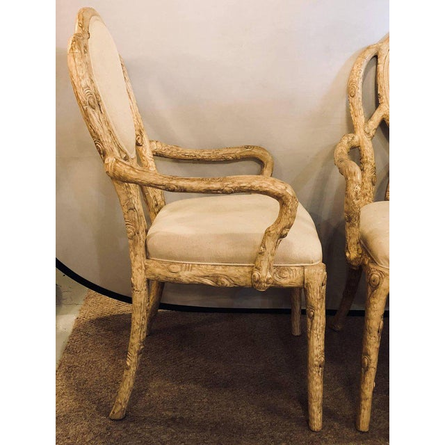 Hollywood Regency Style Tree Trunk Form Designed Arm Desk Chairs A Pair