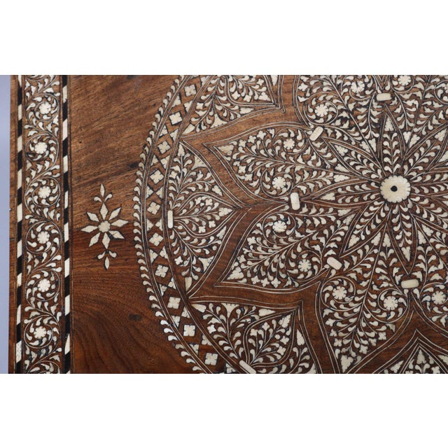 Anglo-Indian Wood and Bone Inlay Table For Sale - Image 3 of 6