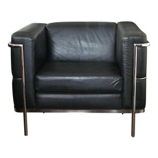 1980s Vintage Jack Cartwright Lc2 Black Leather Armchair For Sale