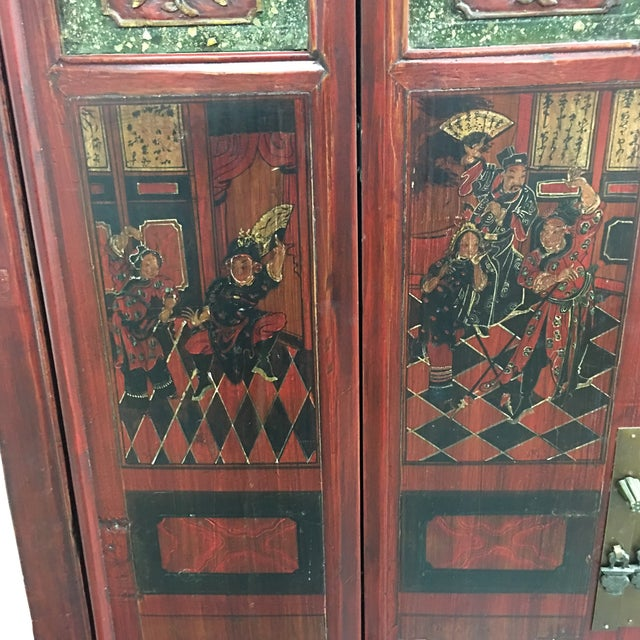 Vintage Hand Painted Asian Wedding Cabinet - Image 6 of 11