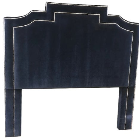 Contemporary Navy Blue Genuine Mohair Upholstered Queen Size Headboard With Chrome Accents For Sale - Image 3 of 3