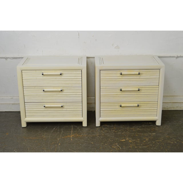 Hollywood Regency Century Vintage Pair of Faux Bamboo White Painted 3 Drawer Chests Nightstands For Sale - Image 3 of 13