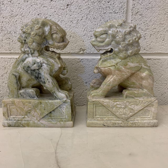 1970s Green Stone Marble Foo Dogs Bookends - a Pair For Sale - Image 5 of 13