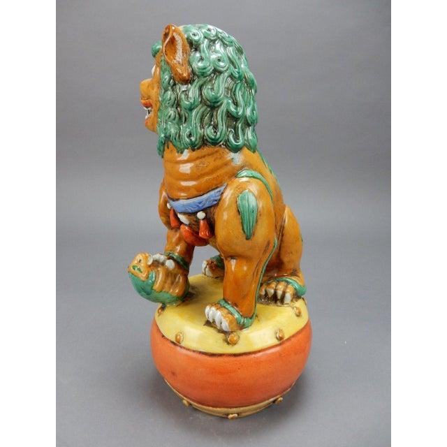 Ceramic Late 19th Century Antique Chinese Nan King Orange Drip Glazed Female Foo Dog For Sale - Image 7 of 13
