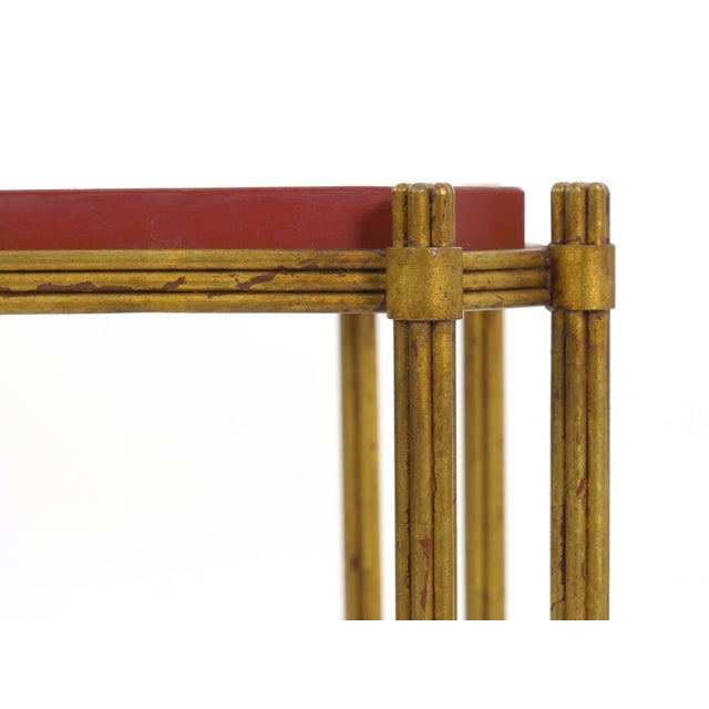 Vintage Gilt Iron Cocktail Table With Red-Painted Wooden Tray, 20th Century For Sale - Image 9 of 13