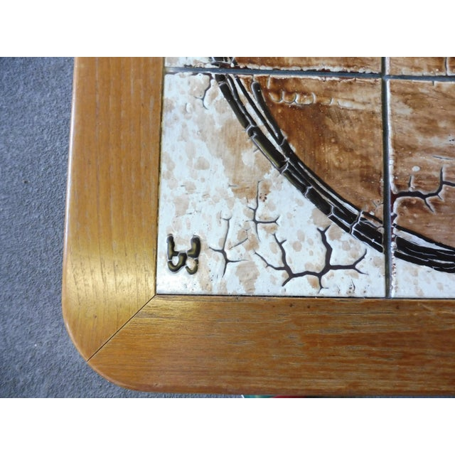 1970s 70's Abstract Painted Tile Top Danish Modern Coffee Table Signed For Sale - Image 5 of 11