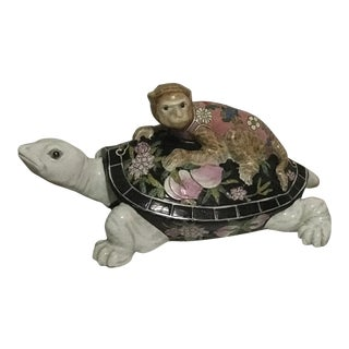 Chinoiserie Monkey Riding On Turtle Porcelain Hand Painted Top Lidded Dish For Sale