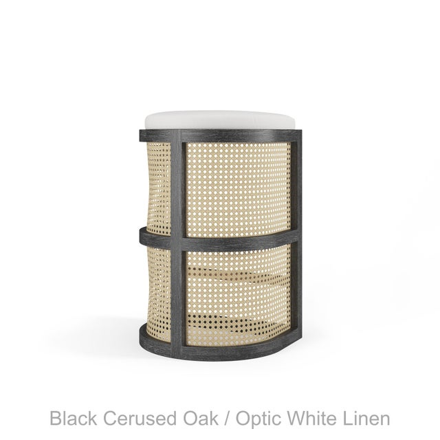 Not Yet Made - Made To Order Isabella Bar Stool - Black Cerused Oak, Optic White Linen For Sale - Image 5 of 5