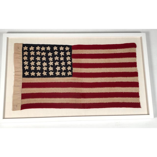 Blue Small Vintage Hand Crocheted American Flag For Sale - Image 8 of 12