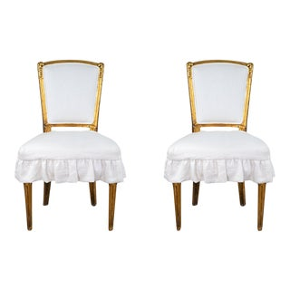Antique French Louis XV Style Gilded Accent Chairs- a Pair For Sale