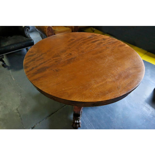 Table - Antique Round Mahogany Dining Table For Sale - Image 4 of 4