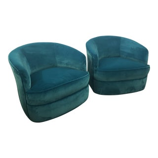 Vintage Milo Baughman Hollywood Regency Blue Velvet Walnut Wood Base Swivel Chairs -A Pair