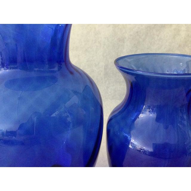 Blue Vintage Anchor Hocking Cobalt Optic Glass Vases - Set of 3 For Sale - Image 8 of 9