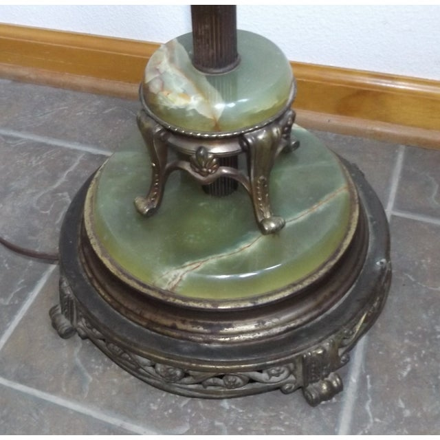 Green Vintage Brass & Marble Floor Lamp For Sale - Image 8 of 10