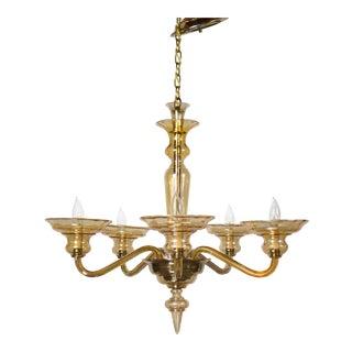 Five Light Art Deco Murano Glass Chandelier For Sale